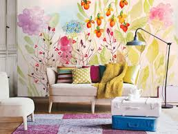 wall murals for living room. Living Room With Floral Wall Mural : Wonderful Ideas To Decorate Your Plain Murals For N