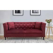 red velvet sofas living room