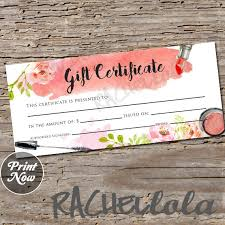 Printable Gift Vouchers Template Extraordinary Watercolor Makeup Printable Gift Certificate Template Spring Etsy