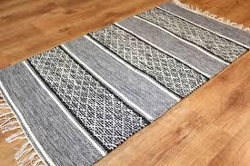 rag rugs large visby black white 160 x 230 cm