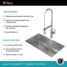 kraus khu100 30. KRAUS Kitchen Combo With Handmade Undermount Stainless Steel 30 In. Single Bowl 16 Gauge Kraus Khu100