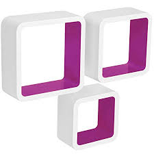 Purple Floating Shelves Fascinating WOLTU Floating Shelves VioletWhite Cube Floating Wall Shelves Set
