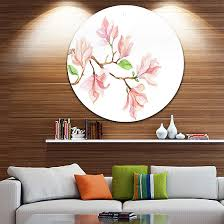 design art mongolia flower painting disc watercolor floral circle metal wall art on watercolor floral wall art with design art mongolia flower painting disc watercolor floral circle