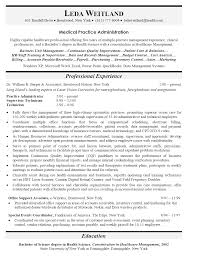 Medical Administrationsume Templates Healthcare Admin Examples Front