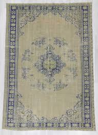 1693 vintage beige navy blue turkish oushak rug