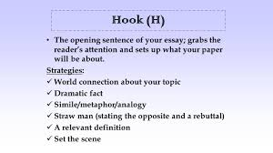 introduction and conclusion paragraphs hook h the opening hook h the opening sentence of your essay grabs the reader s attention and