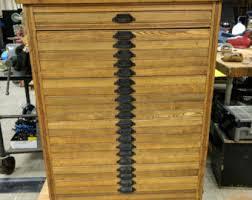 hamilton printers wood type cabinet 21 drawer slant top