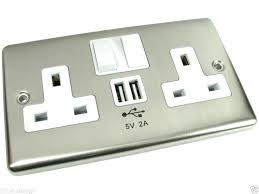 chrome mains power socket with 2 amp charging ports connection wall plug chrome decora wall plates