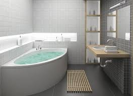 Bathroom Designs, Amazing Small Bathroom Idea Corner Bathtub Redesigning  With Grey Flooring Nice Idea Completed