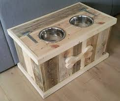 upcycled pallet dog bowl stand with storage