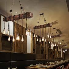 farmhouse wood beam island hanging pendant light chandelier vintage hotel decor