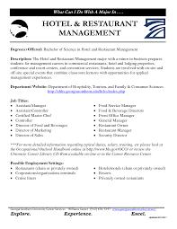 Sample Resume For Hotel Management Thisisantler
