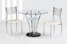 dining table with 2 chairs shaped small round tables set made of metal and glass with modern and minimalist form that is suitable for your dining room a