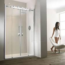 frontline aquaglass 1600mm frameless recess sliding shower door