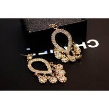 luxury cubic zirconia water drop chandelier earrings gold colour