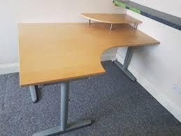 home office corner desk. Large Home Office Corner Desk. Computer Shelf. Light Beech Wood Effect, Grey Metal Desk U