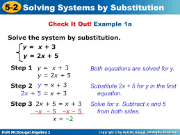 example 1a solve the system by substitution y x