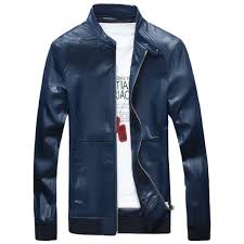 casual zipper up faux leather er jacket blue 2xl casual xpx 83778 xpx 83778