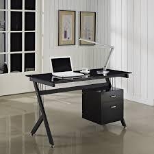 home office desk black black glass computer desk pc table home office black gloss rectangle home office desk
