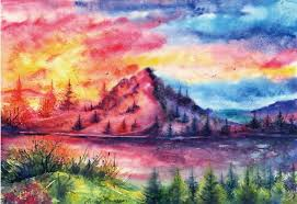 2018 24x34inch watercolor mountain sunset home wall decor prints realistic oil painting printed on canvas from gdst1350 13 06 dhgate com