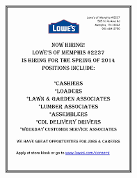 Lowes Resume Sample Lowes Resume Sample Best Of Lowe S Of Memphis Is Hiring 3