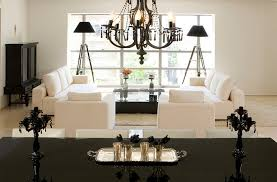 black white living room. Black Metal Chrome Chandelier White Fabric Love Seats With Cushion Fur Rug High Gloss Living Room