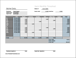 printable time card semi monthly timesheet horizontal orientation work hours entered