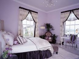 creative vivid purple bedroom ideas with white covering single bed also glass chandelier and white curtains bed lighting fabulous
