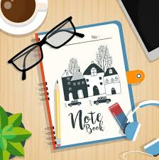 Work desk background notebook pencil glasses coffee icons vectors