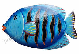 hand chiseled and painted tropical metal art wall decor fish b06xjjmc