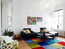 Modern Area Rugs For Living Room Interior Colorful Contemporary Machine Woven Shag Area Rug Black