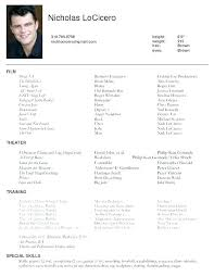 Theatrical Resume Template Cool Talent Resume Sample Amere