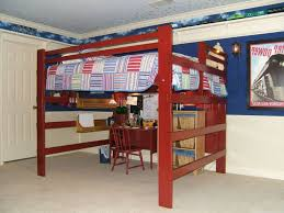 Adult King Single Loft Bed With Desk Underneath