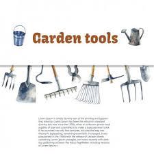 garden tools watercolor free vector