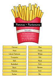 Vorschläge für eine lustige pantomime. Pommes Pantomime Uber 100 Spannende Begriffe Unterrichtsmaterial Im Fach Fachubergreifendes Pantomime Unterrichtsmaterial Grundschule Englischunterricht