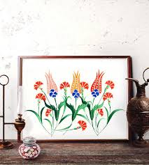 ottoman tulip motif watercolor painting turkish red tulip wall art traditional vintage floral iznik tile prints and original painting 025 on red tulip wall art with ottoman tulip motif watercolor painting turkish red tulip wall art