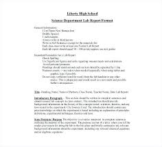 Science Report Format Sample Formal Lab Report Xhodl Co