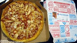 restaurant fast food menu mcdonald s dq bk hamburger pizza mexican domino s chicken pizza domino s pizza delivery take out store large double sliced chicken pizza pie box