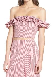 Details About Wayf Womens Red Size Xl Ruffled Trim Striped Off Shoulder Crop Top 69 289