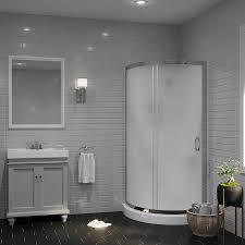OVE Decors Breeze Paris Chrome Wall Acrylic Floor Round 4-Piece Corner  Shower Kit (
