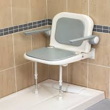 akw standard shower seat with back and arms grey padded