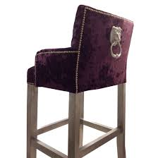 bespoke velvet oned ring back lion knocker bar stool