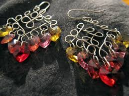 silver wire wrapped chandelier earrings with red yellow and pink swarovski crystal hearts
