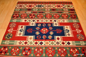 details about top quality wool kilim area rug 5x7 handmade red and blue navajo oriental