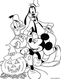Coloriage Mickey Goofy Donald Halloween Disney Dessin
