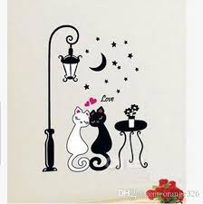 cartoon black white couple cat wall decal art mural fashion romantic wall sticker wallpaper living room sofa home décor sports wall decals sports wall