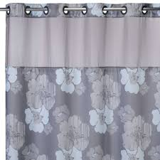awesome hookless gray fl pattern extra long shower curtain liner with straight iron rod for bathroom decor ideas