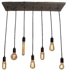 7 pendant reclaimed wood chandelier black mixed antique bulbs