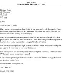 Cashier Cover Letter Example Icover Uk Intended For Cover Letter For