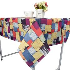 colored grid graffiti tablecloth cotton linen tablecloth dining decorative table cover for kitchen home decor